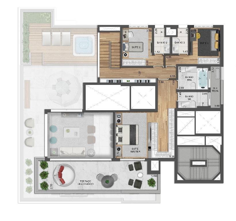 Planta Cobertura Duplex Superior - 374 m²