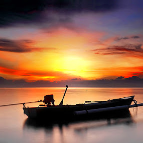 Silent Boat on Sunrise by Farid Wazdi - Landscapes Sunsets & Sunrises