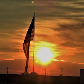 Old Glory at Sunset by Kathy Woods Booth - Artistic Objects Other Objects ( flag, dusk, sunset, american, twilight, american flag )