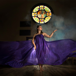 The goddess within. by Amelia Falk - People Musicians & Entertainers ( wind, church, purple, theater, flow, belly, smoke, kalamazoo, michigan, dress, dramatic, sari, motion, fabric, dance, stained glass )