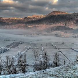 winter fields by Rado Krasnik - Landscapes Prairies, Meadows & Fields ( winter, fog, vlouds, fields, country )