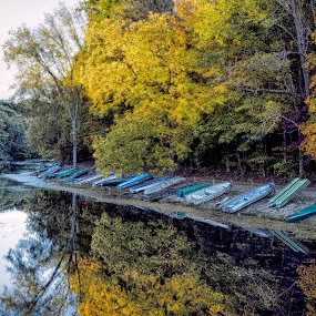 End of the Line by Scott Bryan - Landscapes Waterscapes ( water, reflection, autumn, rowing, fall, boats, trees, lake, landscape )