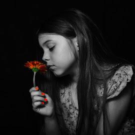Rae Daisy 2 by Tiffany Serijna - Digital Art People ( orange, dreamy, colorful, black and white, raelyn, little, daisy, candid, portrait, child, girl, rae, flower )