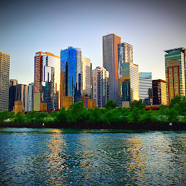 Chicago's  Famius Skyline at Dusk by Lorna Littrell - City,  Street & Park  Skylines ( skyline, sunset, cityscape, chicago )