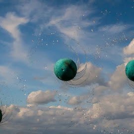 Wet Sponge Balls by Jan Murphy - Digital Art Things ( clouds, water drops, ball, balls, sponge, sky, creative, blue, well )