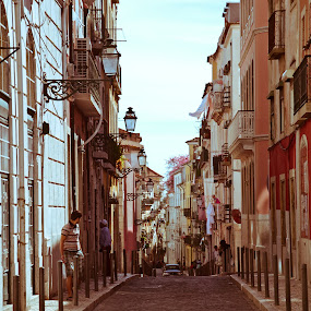 Down the streets of Lisbon by Hirian Raul - City,  Street & Park  Street Scenes ( lamps, cars, street, house, lisbon, people )