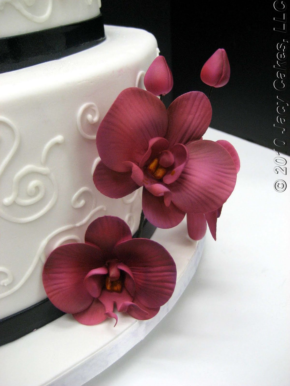Orchids & Swirls Wedding Cake