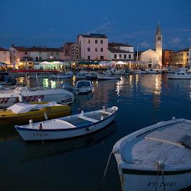 Fazana marina at night by Davor Topalovic - Landscapes Travel ( lights, boats, croatia, marina, fazana )