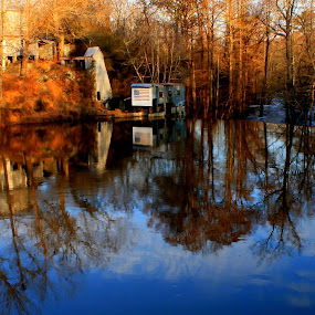 Run of the Mill by Kevin Hill - Buildings & Architecture Decaying & Abandoned ( puzzle, mill, reflection, waterscape, lake, pond,  )