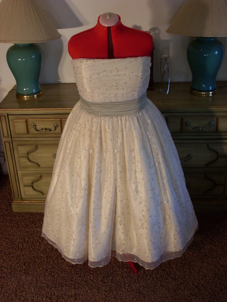 1950s Tea Length Wedding Gown