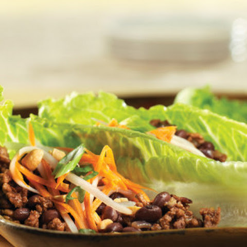 Asian Beef Lettuce Cups with Carrot & Daikon Slaw
