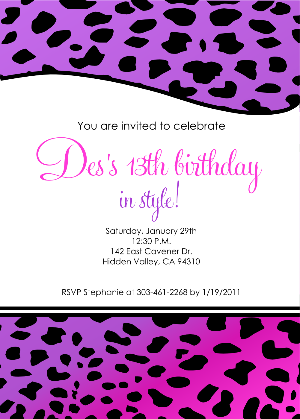 13th Birthday Invitation for