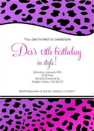pink black wedding anniversary 13th Birthday Invitation for