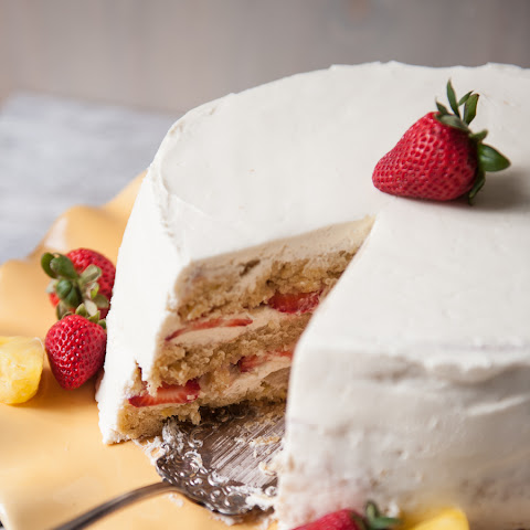 Strawberry Pineapple Pale Ale Cake with Whipped Cream Cheese Frosting