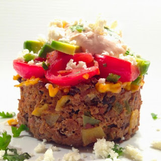 HATCH TACO LOAF W/TEQUILA SPIKED SALSA & SRIRACHA-AGAVE CREAM TOPPING