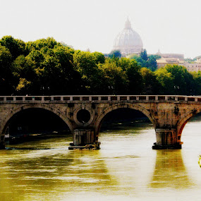 Across the Tiber by Dhannya Jacob - Buildings & Architecture Bridges & Suspended Structures ( pwcbridges )