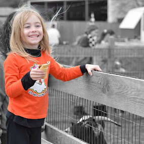 Goat for a Smile by Mark Lendacky - Babies & Children Children Candids ( farm, orange, girl, goat, little )