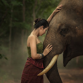 Touch by Visoot Uthairam - People Portraits of Women ( face, walking, laos, elephant, poses, thailand, wildlife, thai, tusk, travel, people, contact, rustic, love, girl, life, area, nature, tree, woman, family, indonesia, safari, lifestyle, asia, ivory, baby, indigenous, smile, tall, wild, folk, national, poor, tourism, forest, suai, rural, mammal, surin, myanmar, environment, trunk, outdoor, ears, local )