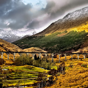 The Viaduct by Angel Weller - Landscapes Mountains & Hills ( clouds, mountains, snow, gold, bridge )