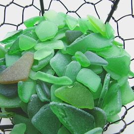 Sea glass by Vali Tina - Artistic Objects Glass ( sea green glass details broken pieces )