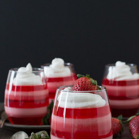 Layered Strawberry Jello Cups