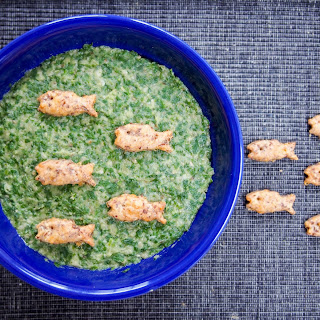 Eggplant, spinach and white bean dip with homemade cheddar crackers #SundaySupper