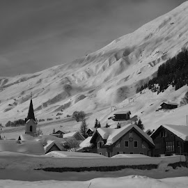 Swiss Village by Emile Hallaby - Black & White Buildings & Architecture ( #swiss, #snow, #europe, #switzerland, #travel )