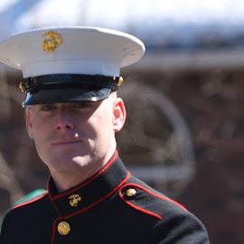Proud Marine by Lorraine D.  Heaney - People Portraits of Men
