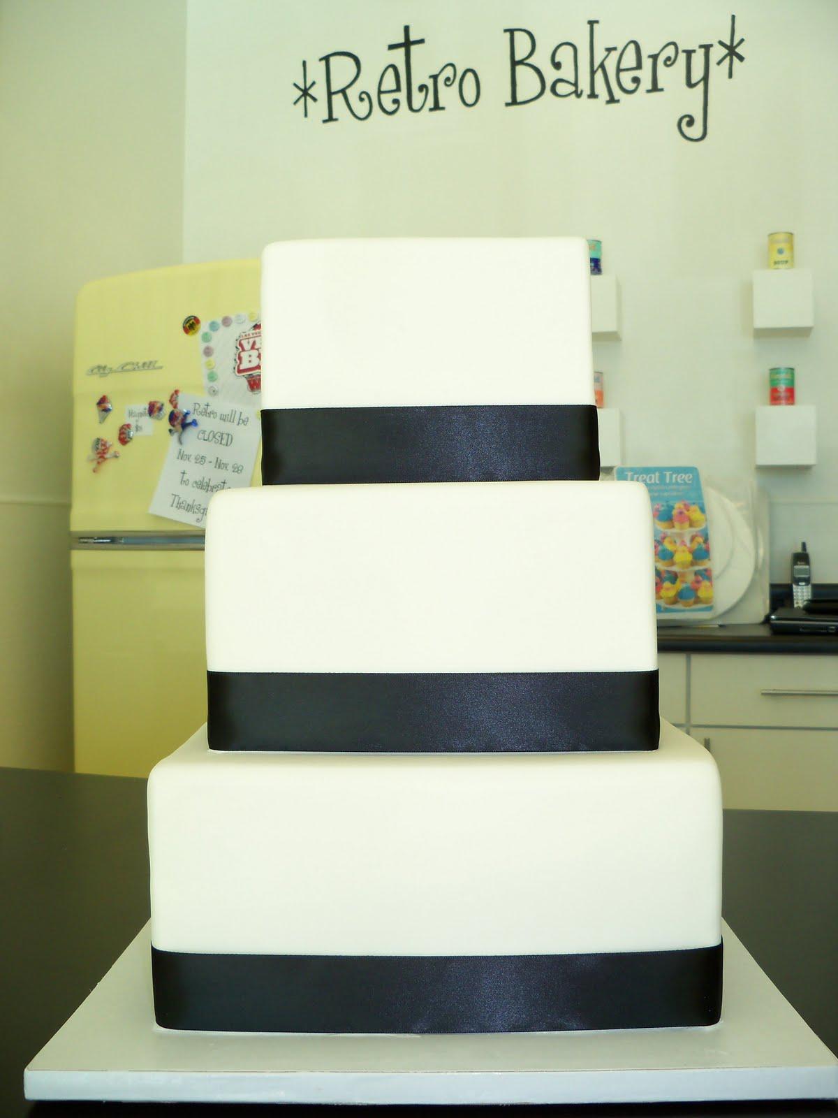 White fondant wedding cake
