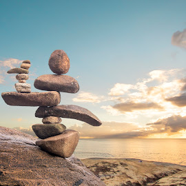 Stone Pile (by rqserra) by Rqserra Henrique - Artistic Objects Still Life ( fineartphoto, sunrise, primitive, pile, primitiveart, fineart, rqserra, stone, minimal, minimalism, rocks, contemporary, beach,  )