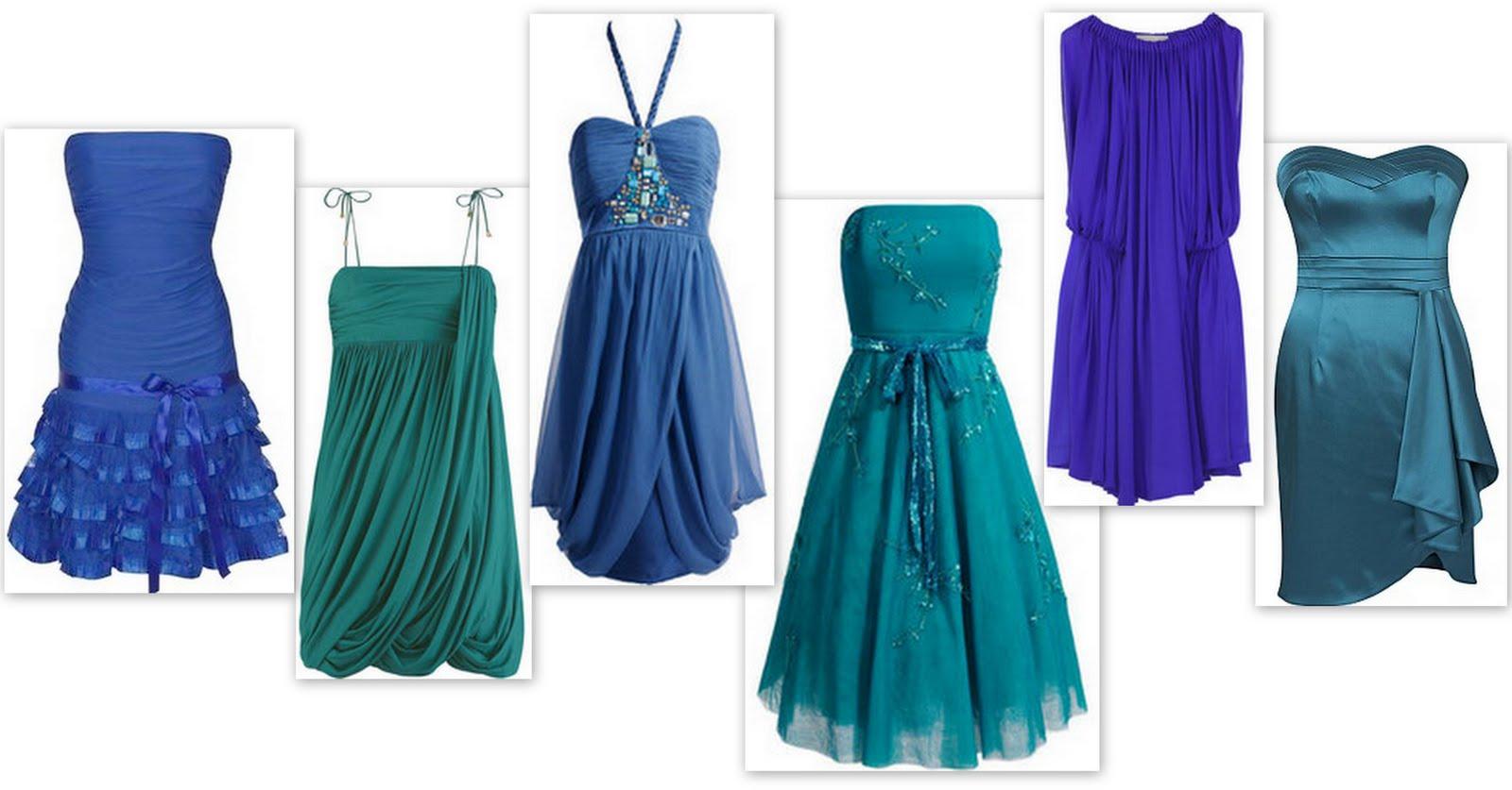 Peacock blue bridesmaid dress.