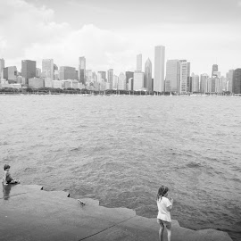 by Jezneil Ramos - City,  Street & Park  Skylines ( love, water, chicago skyline, skyline, waterscape, children, lake, kids, cityscape, landscape, people, city )