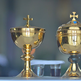 cups of holy communion by Hendra Tan - Artistic Objects Cups, Plates & Utensils ( cup, still life, holy, golden, cross )