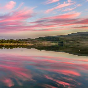 Pink cloudes by Benny Høynes - Landscapes Cloud Formations ( hills, cloudes, sea, pink, lake, colours )