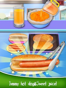 School Lunch Food - Hot Dog, Tator Tots & Juice