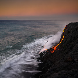 Early Morning Lava by Jared Goodwin - Landscapes Beaches ( cliffs, sunrises, waterscape, rocky, rock, beauty, beach, volcanic, heat, sky, volcano, sunsets, sunrays, cloudy, long exposure, sunshine, gold, rocks, hawaii, golden hour, water, clouds, heart, waves, cliff, beautiful, sea, cloudscape, seascape, paradise, fire, lava, sunset, cloud, volcanoes, sunrise, slow shutter, golden )