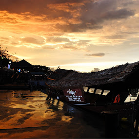 Sunset at Kuching Riverfront by Sunny Wong - Landscapes Weather ( sunset, cloud, pwcautumn-dq, boat, river )