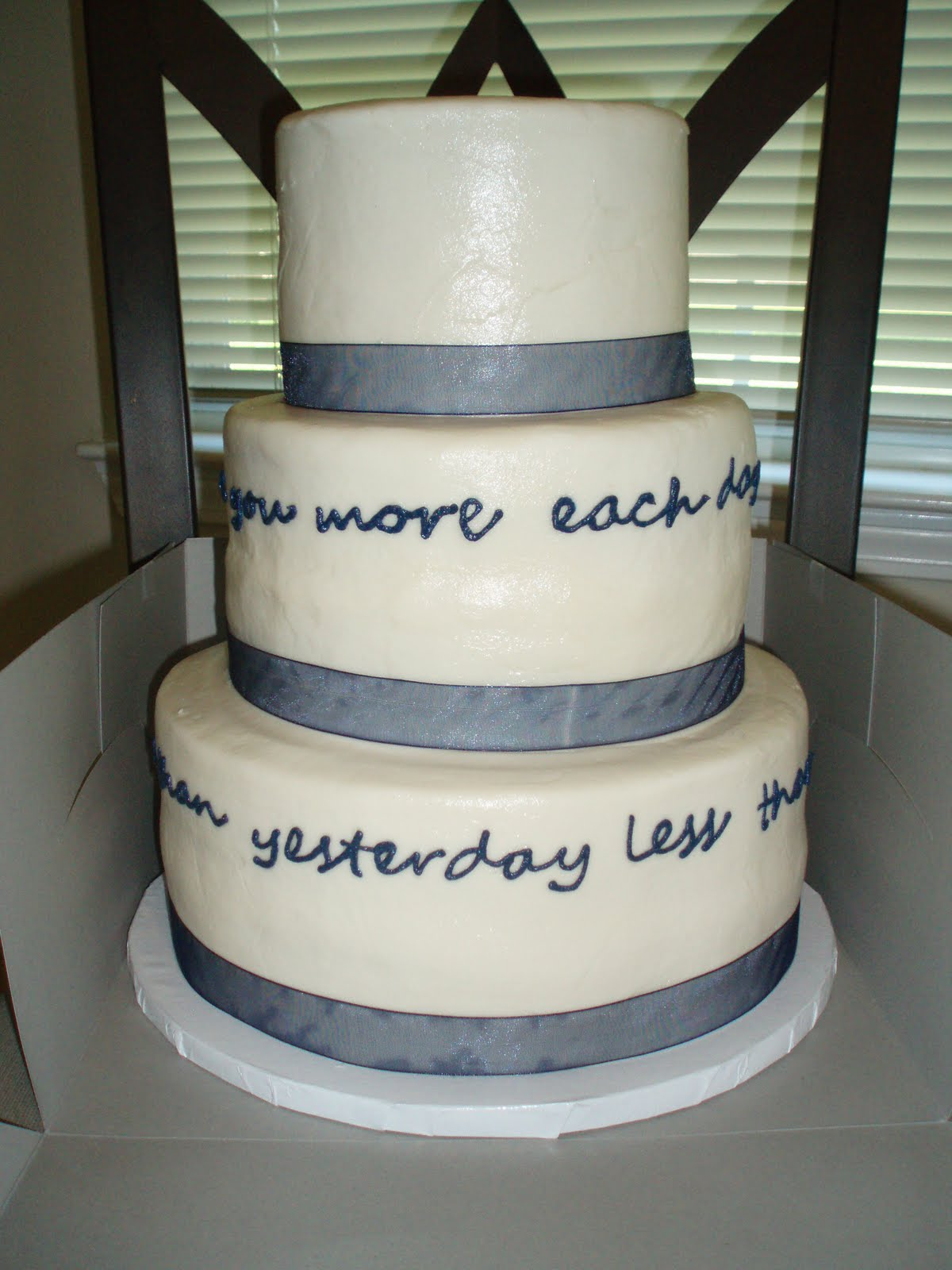 white cake with navy blue