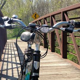 On the Bridge by Barry Lehman - Transportation Bicycles ( biking, bridge, spring, rochester, bicycle )