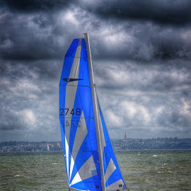 Bright Sail in Dark Solent by Steve Williams - Sports & Fitness Watersports ( sailing, yacht )