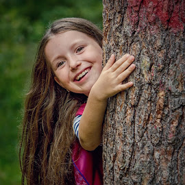 Woody Fairy by Jiri Cetkovsky - Babies & Children Child Portraits ( teree, girl, nature, wood, portrait )