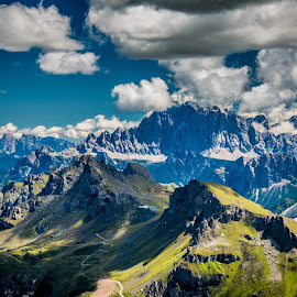 Mt.Civetta by Mario Horvat - Landscapes Mountains & Hills ( clouds, mountains, sky, dolomiti, italia, sunny, high, dolomites, italy, passo pordoi, civetta )