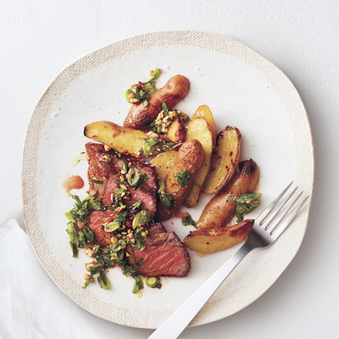 Grilled Steak and Potatoes With Snap Pea Salsa