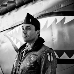 Tribute by David Benedict - Black & White Portraits & People ( world war ii, airplanes, airplane, aircraft, p40, military,  )