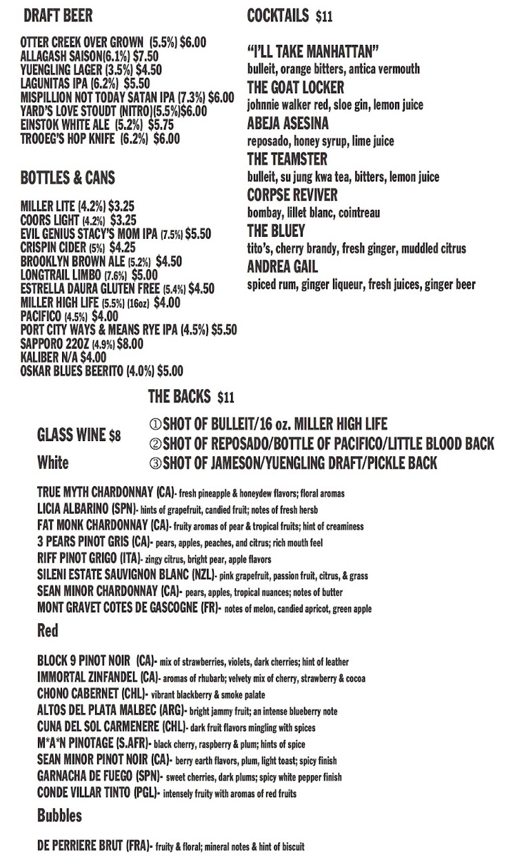 Goat Kitchen and Bar - BEER & WINE