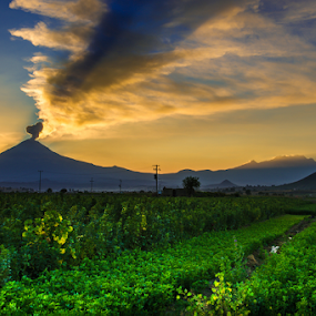 popocatepetl by Cristobal Garciaferro Rubio - Landscapes Prairies, Meadows & Fields ( popo, popocatepetl, smoking volcano )