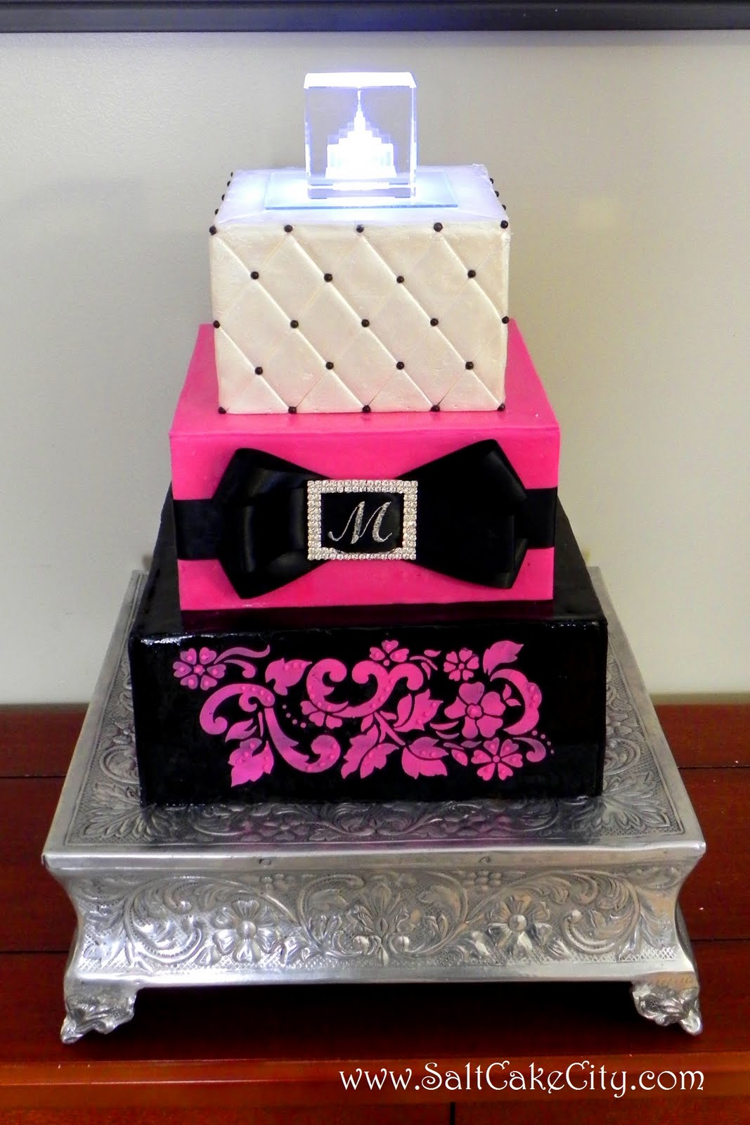 Fuchsia & Black Wedding Cake