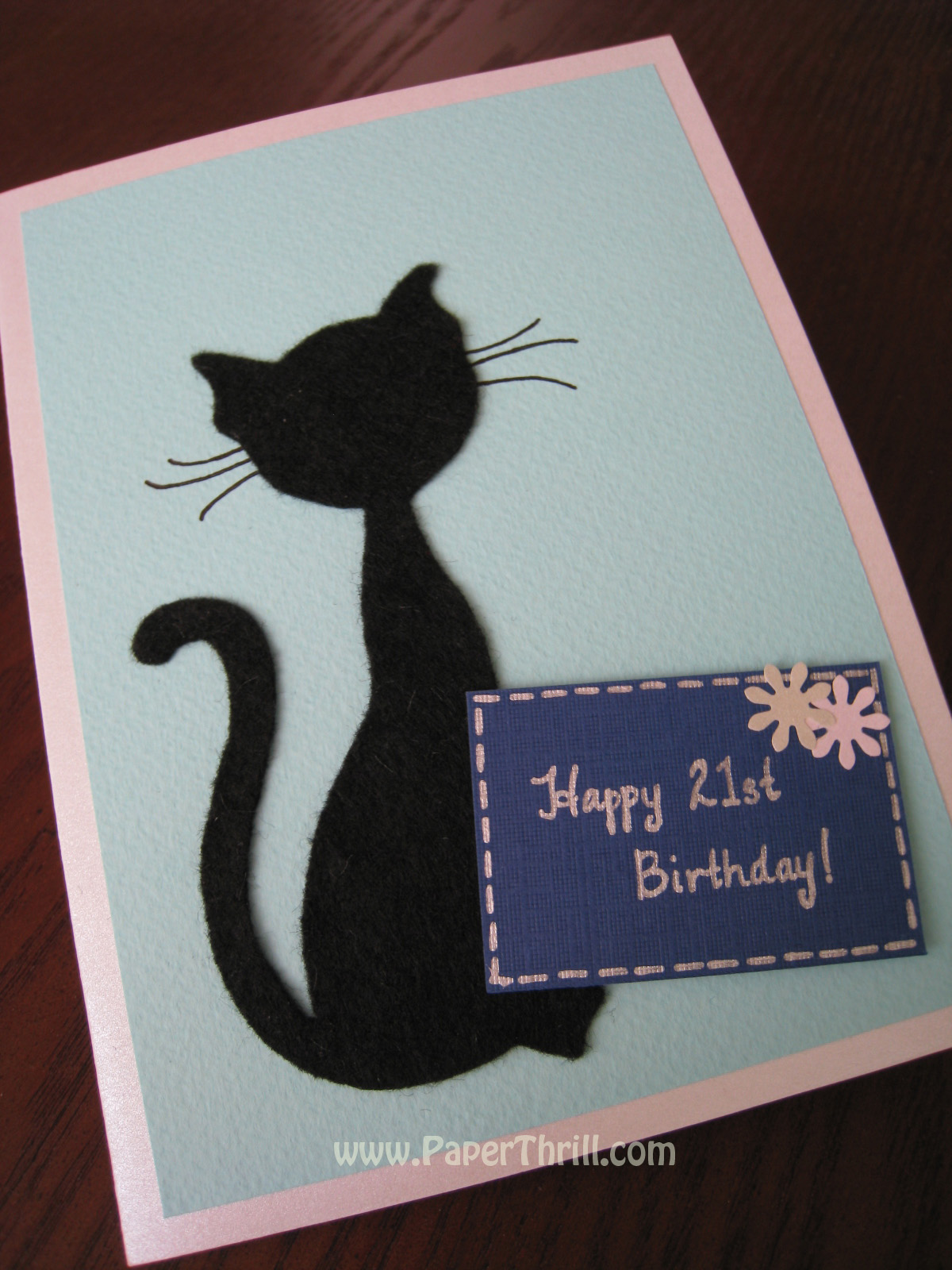 Black cat birthday pop up card