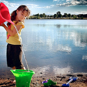 by Lori Lei Herr - Babies & Children Children Candids ( water, clouds, sand, green, bucket, children, lake, beach, child, red, sky, girl, blue, color, summer )