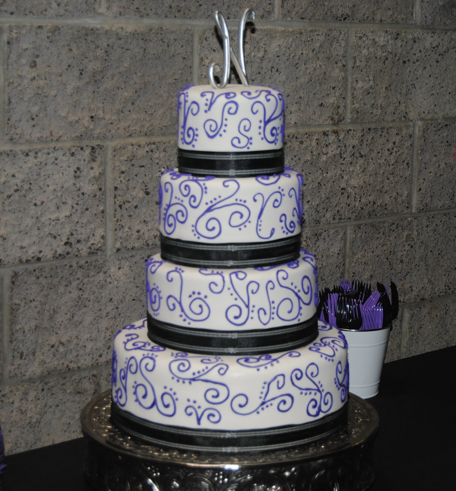 White with purple piping